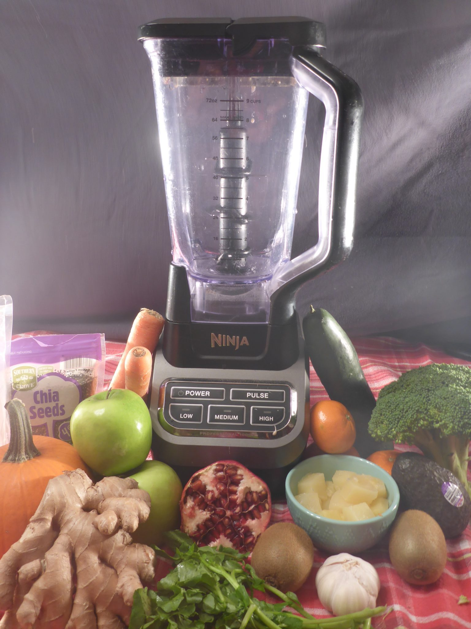 blender with smoothie ingredients